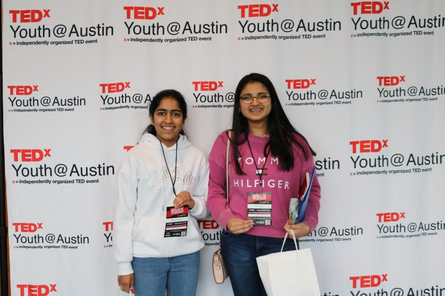 Akshata Badrayani '21 and Advika Rajesh '21 pose in front of the TEDxYouth @ Austin backdrop after returning from the xLabs. Many students attended the event to earn extra credit for their Spanish class.