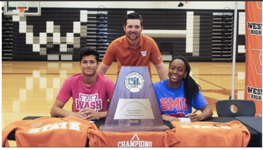 Head tennis coach Travis Dalrymple poses with Gaurav Singh '20, who signed with the University of Washington in St. Louis, and Kiana Graham '20 who signed with Southern Methodist University. Photo courtesy of Westwood Tennis.
