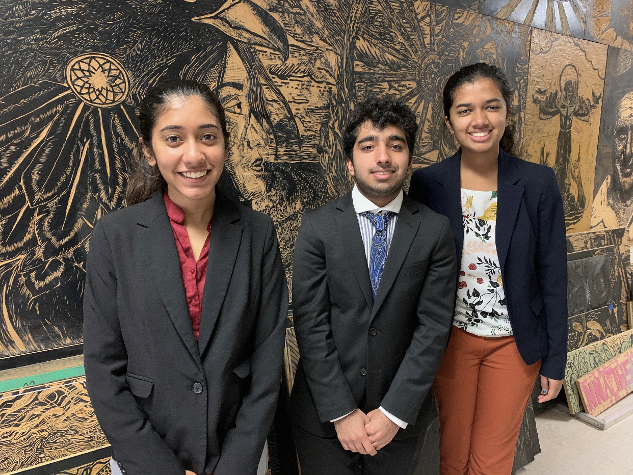 Sandali Srivastava '22, Ayan Chaudhry '21, and Sudiksha Pradhan '21 pose for a picture at the tournament. This was a different experience for the debaters as it wasn't in the local area like their usual tournaments. Photo Courtesy of Westwood Speech and Debate.