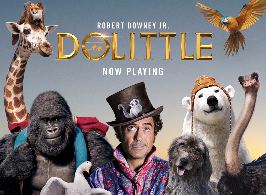 Robert Downey Jr. poses with his animal companions on the whimsical poster for the film 'Dolittle.' Photo Courtesy of Universal Pictures.
