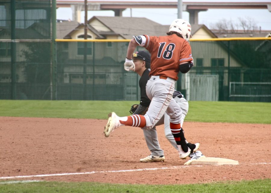 After putting the ball into play, Jack Brinson '22 runs to first base. This play resulted in Brinson  stealing first base.