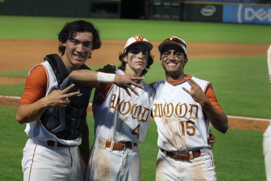Daniel Sialm '20, Rohan Gupta '21, and Jeff Hebert '22 pose after beating Elgin 18-16 at Dell Diamond.  The Warriors came from behind yet again to stun the Wildcats in dramatic fashion.