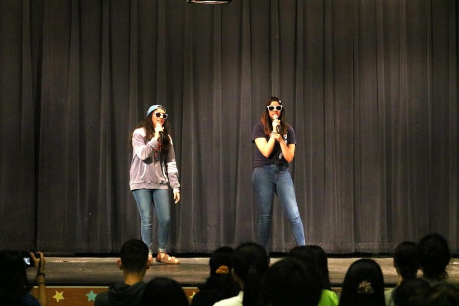 Bringing Bollywood to Westwood, Anouka Saha '21 and Dia Jain '21 form the group 'Westwood Masala' and perform Bollywood singing to 'Down/Desi Girl'. This was the first performance kicking off the IB talent show.