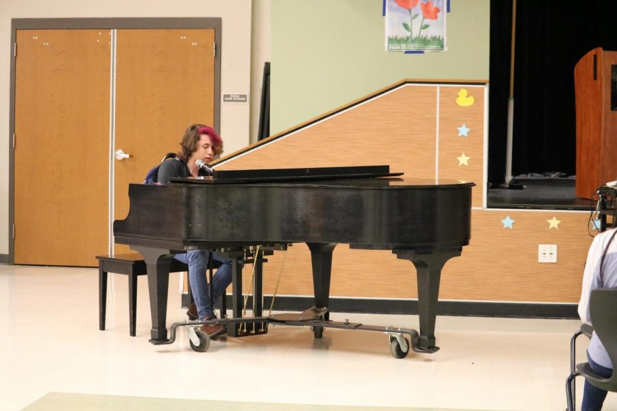 Sonny Stenson '20 performs a beloved Elton John song on piano.