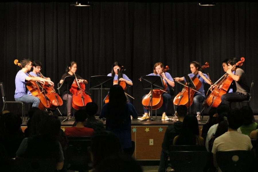 IB's cello octet performs the Spanish classical music 'Bachianas Brasilieras No 1.'
