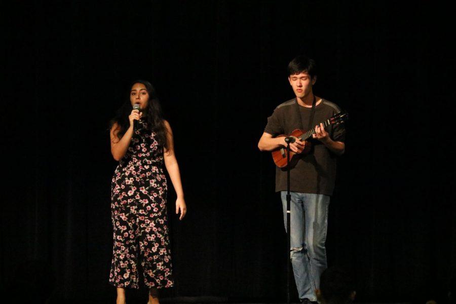 Anouka Saha and Sho Humphries perform 'Heart Away' on stage.