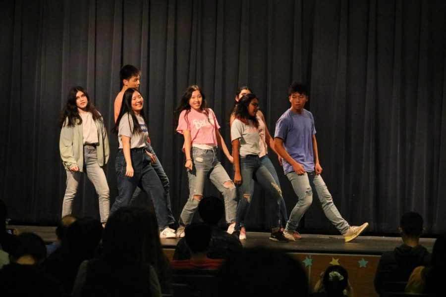 The K-pop group BWL stuns the audience with their moves. The group performed to the song 'Boy With Luv'.