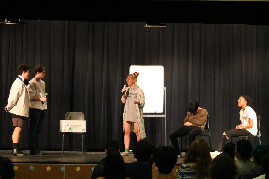 The IB seniors collaborate together to write and perform a skit.