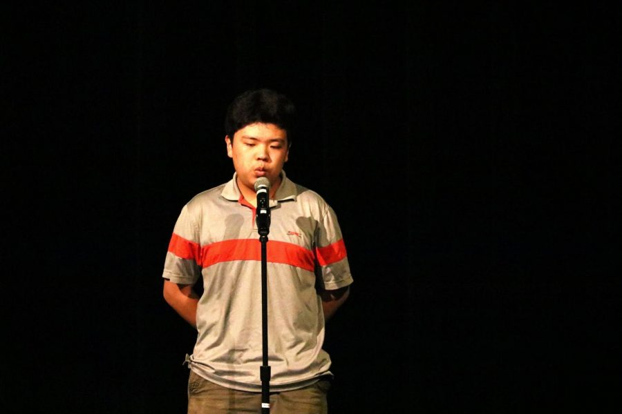 Blowing the audience away, Elliot Kim '21 whistles the song 'Ave Maria'.