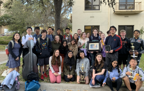 Westwood students pose in front of Texas State University after placing in 3rd place for Sweepstakes. Individual and group events were both represented during the tournament.