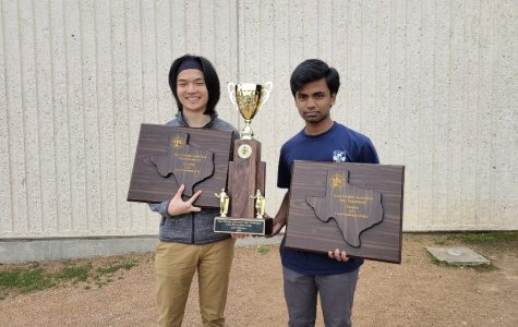 Daniel Shi '20 and Vikas Burugu '20 pose for a picture. They won first place in the policy debate division for the state tournament.