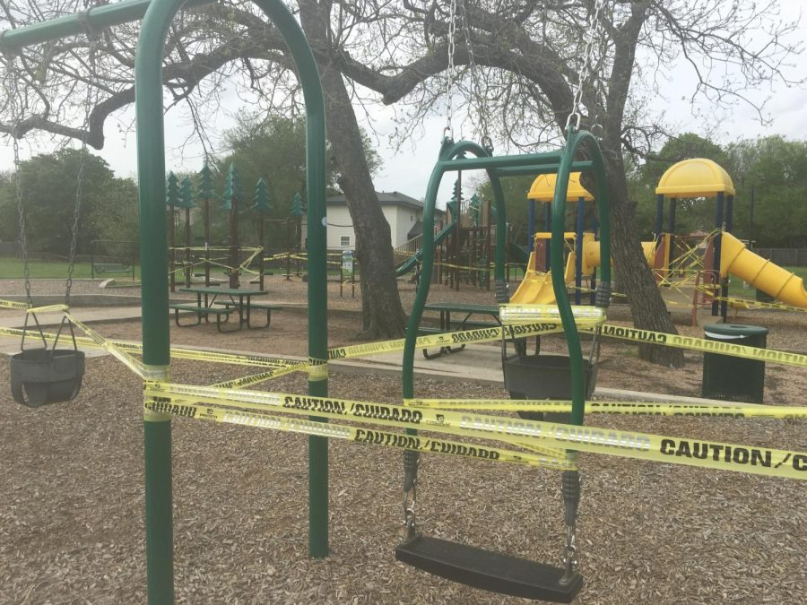 Community playgrounds have been prohibited to prevent coming in contact with the virus.