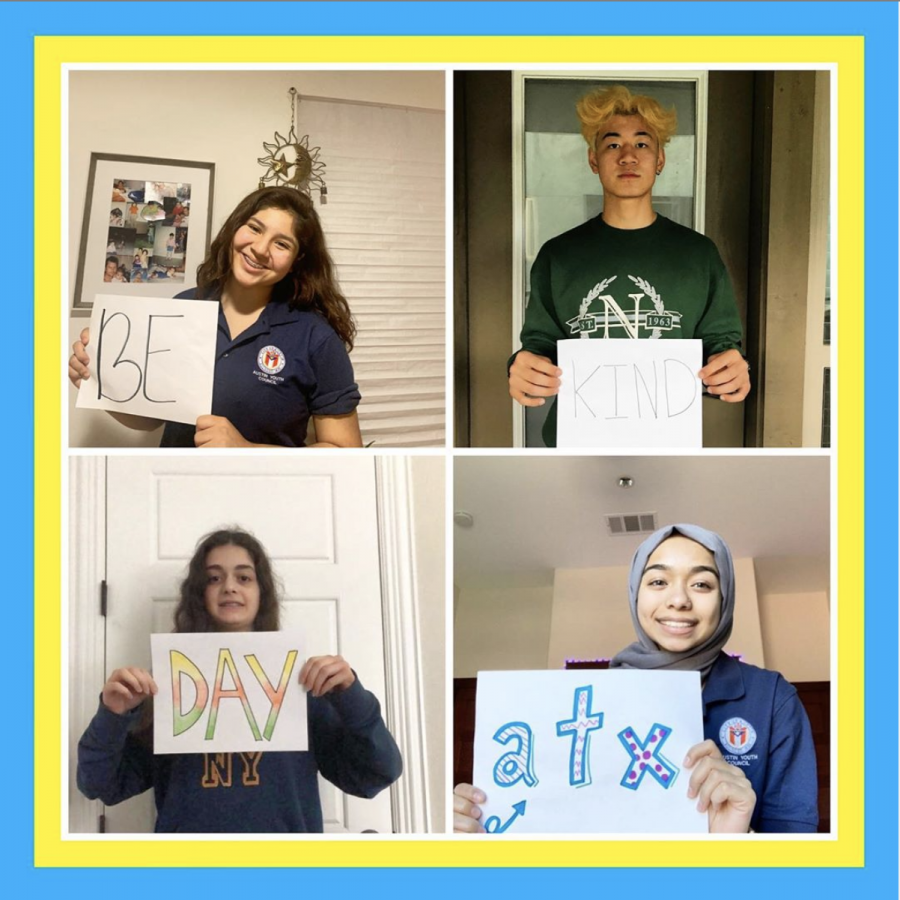 Austin Youth Council members recognize Be Kind Day in their respective homes. Photo courtesy of Austin Youth Council Instagram.