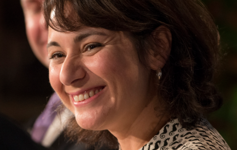 Gina Hinojosa smiles at the LBJ Presidential Library's Future of Texas discussion. This annual discussion is held  for state legislators reviewing the issues facing the Texas Legislature's current session.