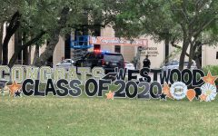 The outside area is decorated with signs to celebrate the Class of 2020.