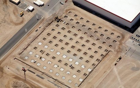 A section of the Tesla Gigafactory under construction in Nevada.