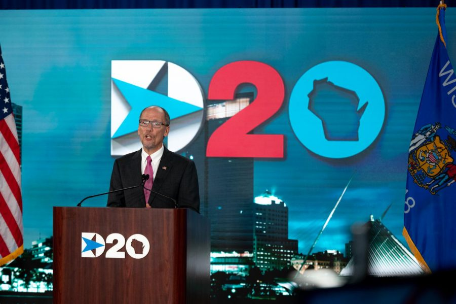 Chairman+of+the+Democratic+Party+Tom+Perez+speaks+to+a+mostly+empty+room+prior+to+the+convention%27s+virtual+roll+call.+During+his+speech%2C+Mr.+Perez+praised+the+American+dream%2C+which+was+a+theme+of+the+convention.
