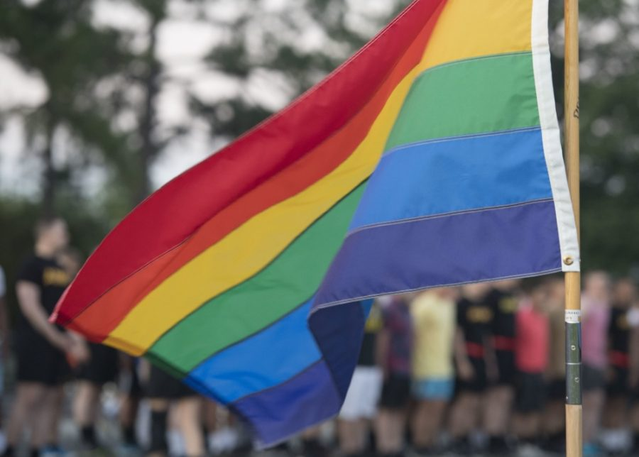 A+pride+flag+flies+during+pride+month+at+a+military+base+in+solidarity+with+the+LGBTQ%2B+community.+As+attitudes+towards+them+shift+in+a+positive+direction%2C+President+Trump+and+his+administration+continue+to+undermine+their+rights.