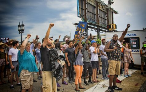 Black Lives Matter protesters gather to demonstrate against police brutality.