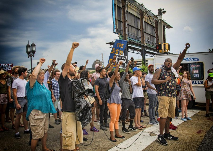 Black+Lives+Matter+protesters+gather+to+demonstrate+against+police+brutality.