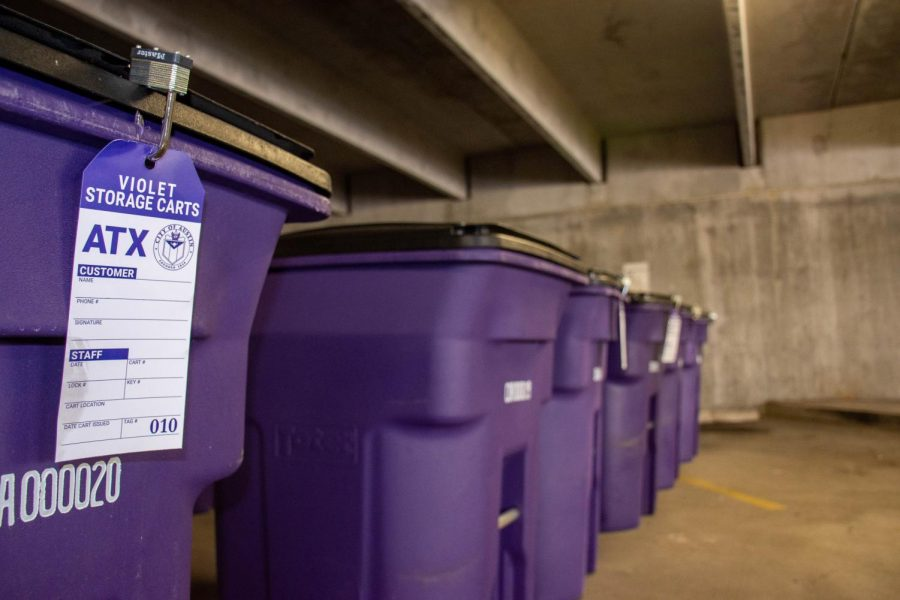 The Violet Keepsafe Storage Program provides purple storage bins where people dealing with homelessness can store their personal possessions.