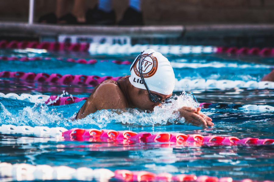 Jackie Liu '22 races breastroke for the Westwood B 4x50 medley relay. This relay went on to secure 3rd, placing above McNeil's A relay.