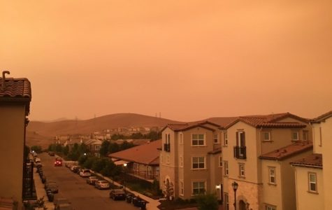 Dark and orange skies outside a balcony in San Ramon, California at 6:31 p.m. on Sept. 10.