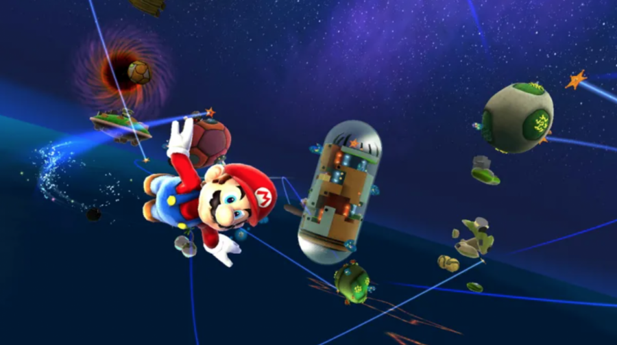 Mario flies through the Good Egg Galaxy, a fan favorite level. Photo courtesy of Stephen Totilo