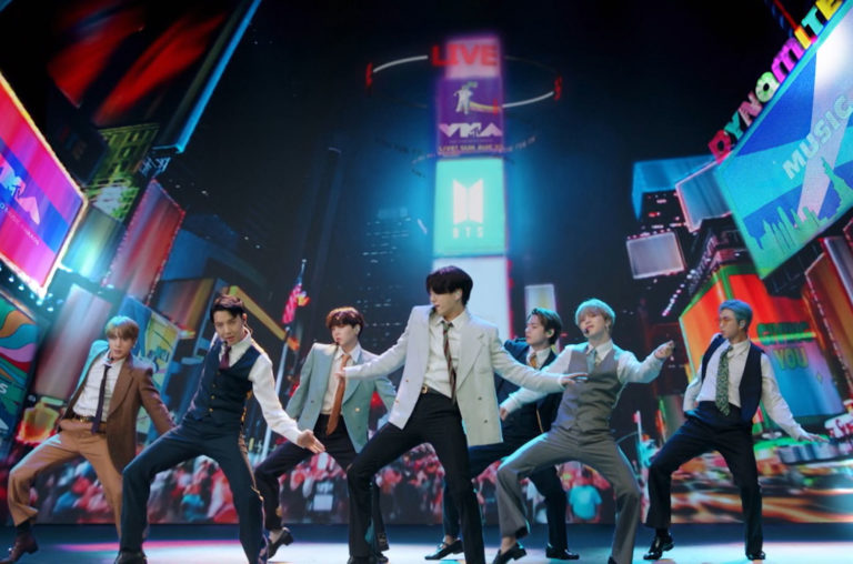BTS performs at the VMAs on Aug. 30, 2020. The group performed virtually from South Korea with a New York themed background.  Photo Courtesy of MTV.