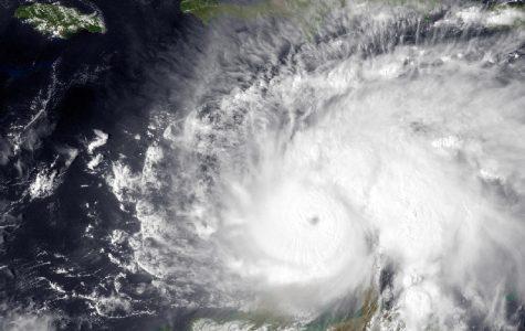 Overhead image of Hurricane Matthew before making landfall, taking from a satellite.
