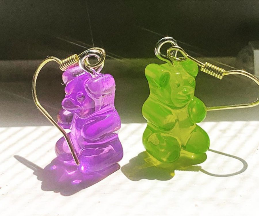 These colorful gummy bear earrings are just one of many products that can be found in Selena's Bazaar.  Photo courtesy of Selena Molinari '24