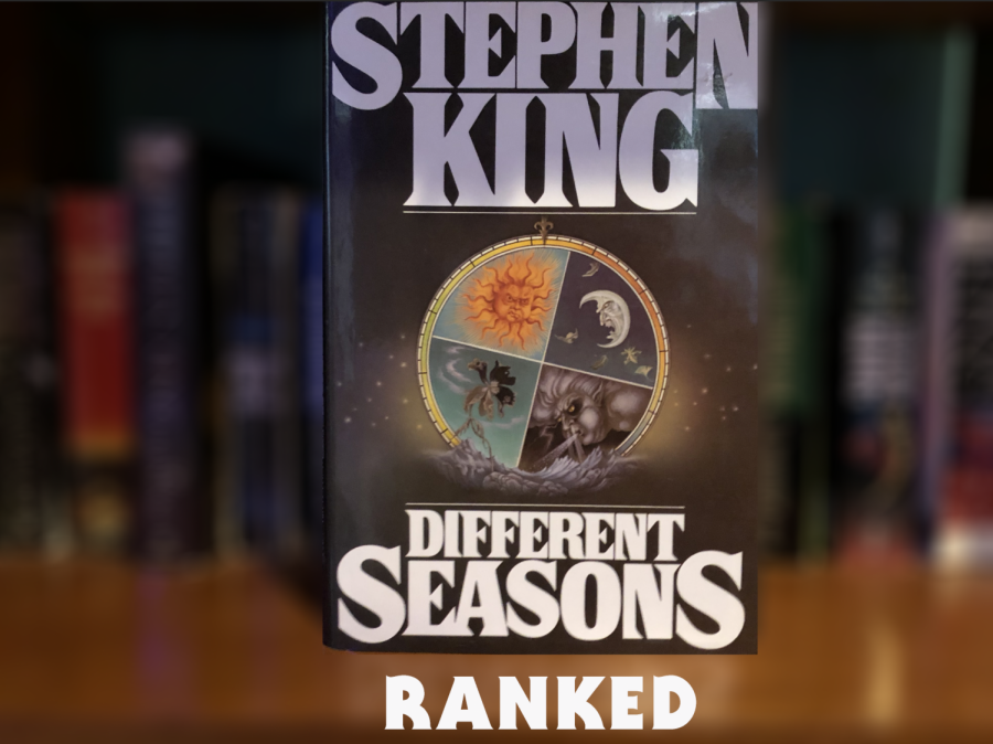 The book cover of Different Season's showcasing the 4 seasons, represented in the book by 4 stories.