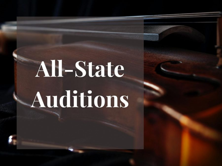 Students virtually auditioned for the All-State Orchestra. Graphic by Nashitha Azeez
