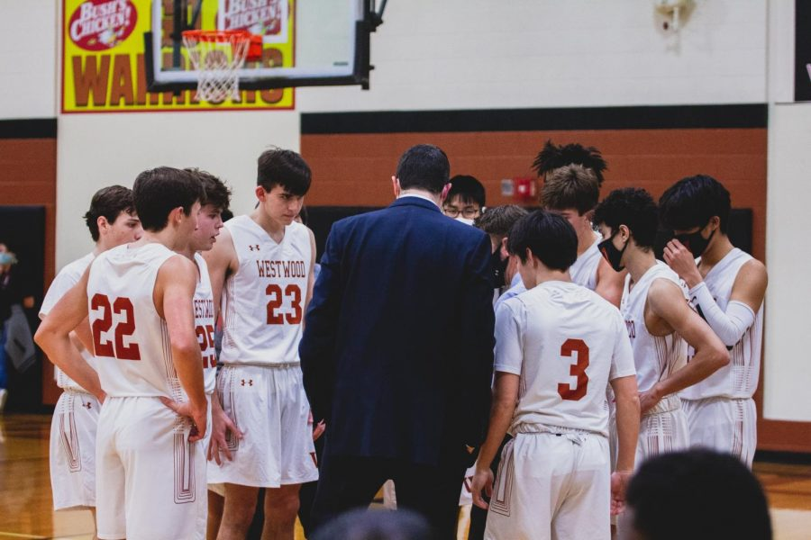 Already up 20 points, the Warriors have a meeting while a frantic Del Valley calls a timeout. The team gathers and prepares to finish the game out strong.