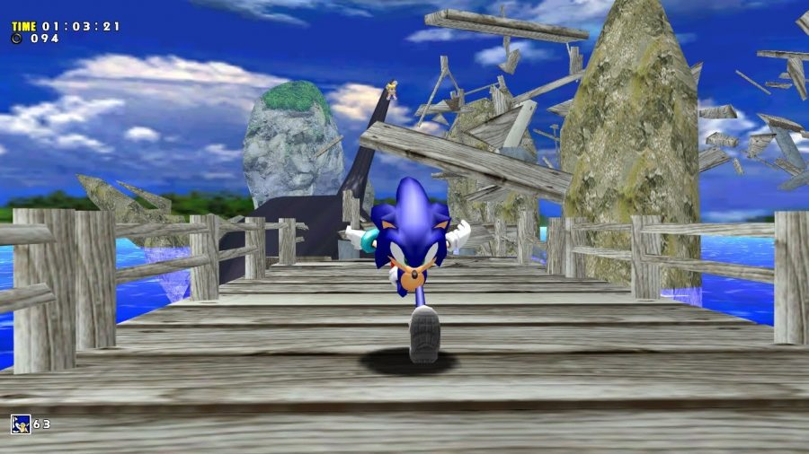 Sonic's speedy gameplay in the level Emerald Coast, from 'Sonic Adventure' is a pivotal aspect of the game. Photo courtesy of segabits.com