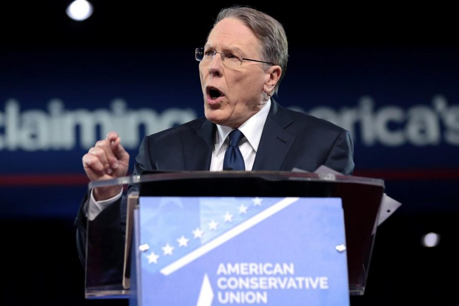 The NRA's CEO and executive vice president Wayne LaPierre speaking at the 2017 American Conservative Political Action Conference (CPAC) in National Harbor, Maryland.