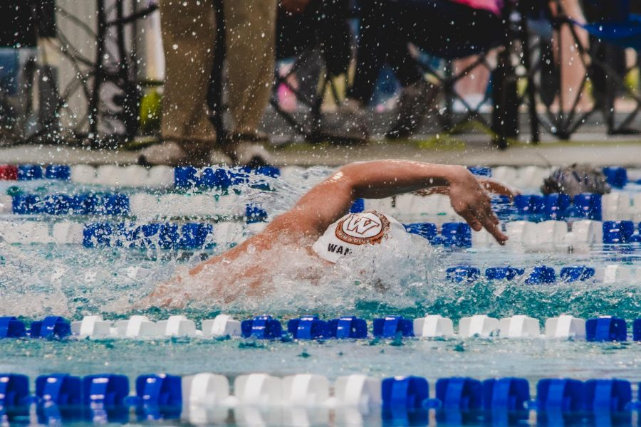Sonny Wang '23 drops a monstrous 44.54 split on the 4x100yd freestyle relay, making up over three seconds. Wang also earned swimmer of the meet.