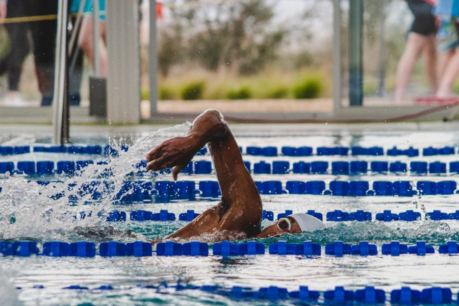 Racing to a new best time by over four seconds, Arsh Gupta '23 finishes his 200IM. With new rules implemented this year, each swimmer only had one attempt to advance to Regionals.