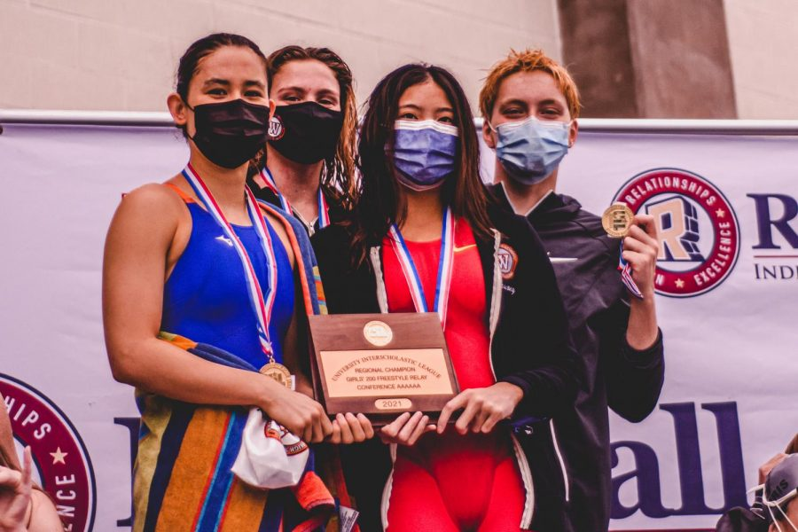 The 4x50-yard freestyle team of Ayame Castel '22, Emma Bierley '22, KyAnh Truong '21, and Sadie Runeman '21 secured first by over two seconds at the regional meet. The quartet finished fourth in the state competition.