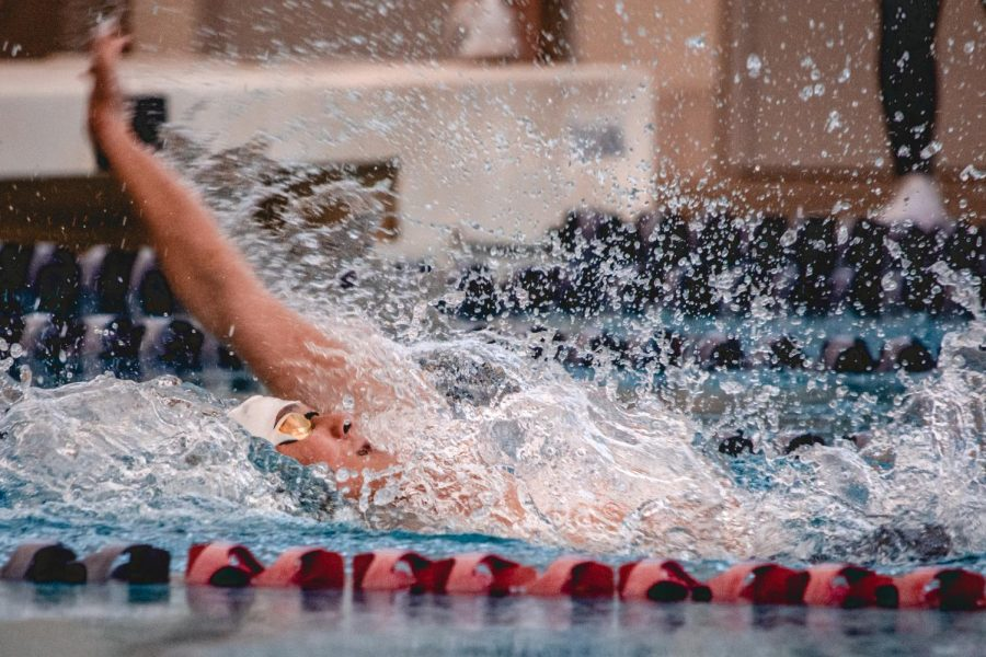 Placing in the A-final as a freshman, Dillon Shadowen '24 swims a 54.06 100yd backstroke. This race marks a best time for Shadowen by .38 seconds, shaving time off of his own freshman record.