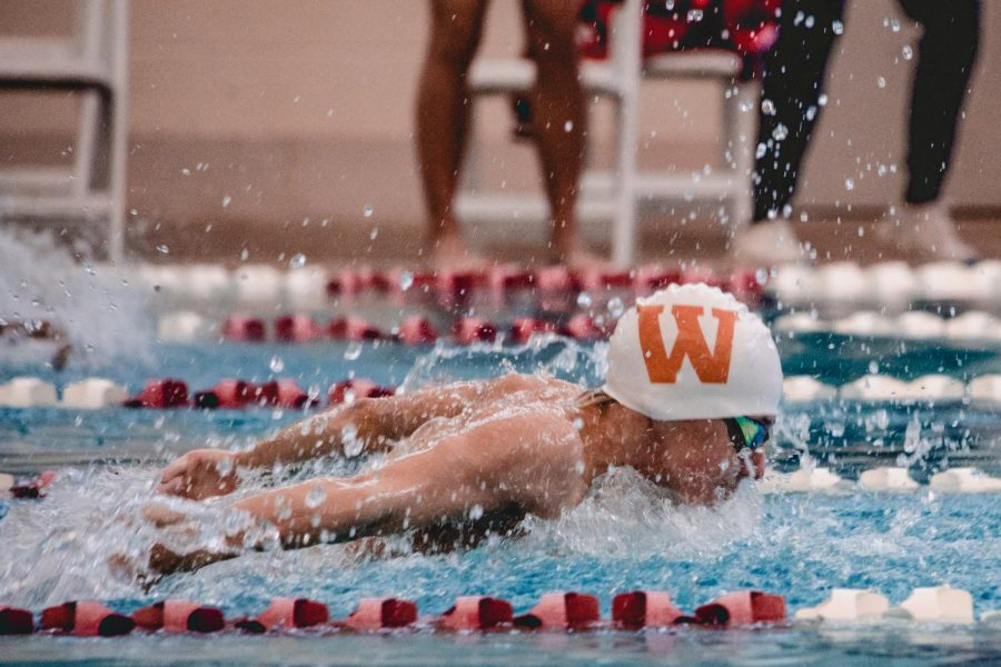 Grady Radcliff '23 swims a 23.55 50yd butterfly split on Westwood's 4x50yd medley relay. Westwood took first in this race by .03.