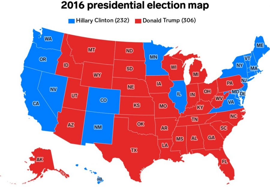 A map of how the electoral college voted in the 2016 election. Though the system seems unfair, it gives a chance for citizens in less populated areas to have their voices heard. Photo Courtesy of Business Insider.