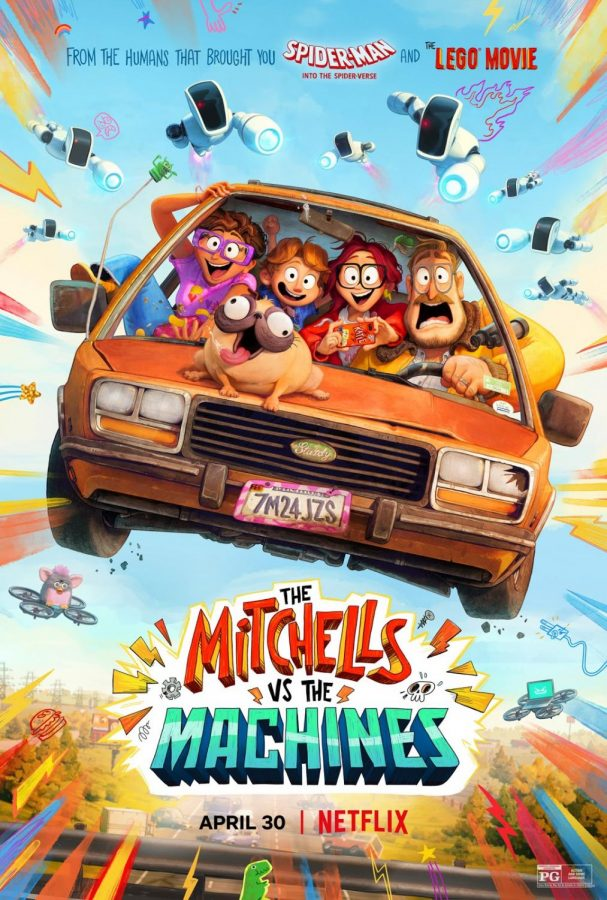 Linda, Katie, Aaron, and Rick Mitchell are seen in their iconic car being followed by robots in 'The Mitchells vs. the Machines'. Image courtesy of IMDB.