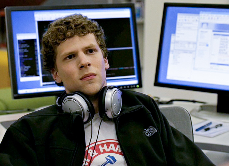 Jesse Eisenberg portraying Mark Zuckerberg in The Social Network. Eisenberg's portrayal of Zuckerberg earned him a nomination for the Best Actor Oscar in the 2011 Academy Awards. Image courtesy of Scott Beale, laughingsquid.com.
