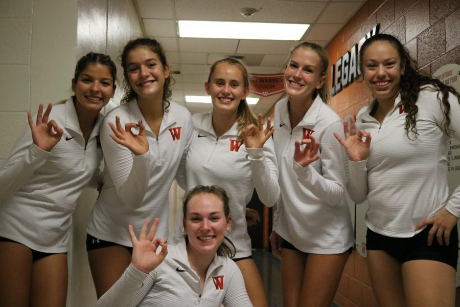 Our Westwood Varsity athletes pose for the Horizon, thrilled to play against Westlake tonight. Their Ws held high!