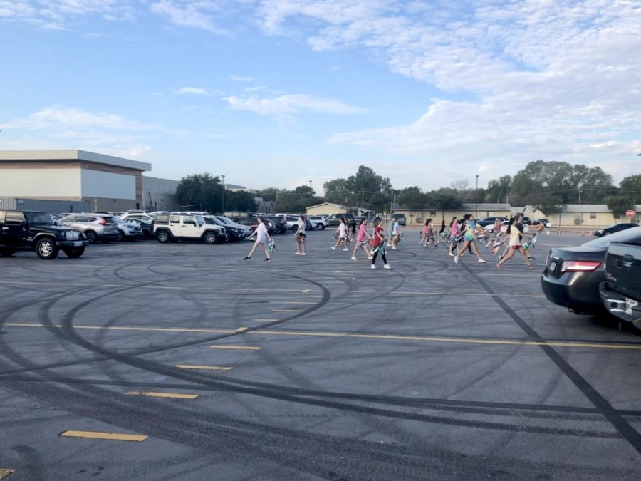 The Sundancers use the parking lot for practices in the morning. Students have needed a better solution to this problem for a while. Photo courtesy of Hadley Norris.