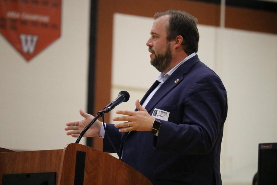 Texas State Representative John Bucy III presents four of the eight potential amendments to the Texas constitution to be voted on in November. Newly registered seniors will have the opportunity to have their voice heard by voting on the new modifications to Texas law.