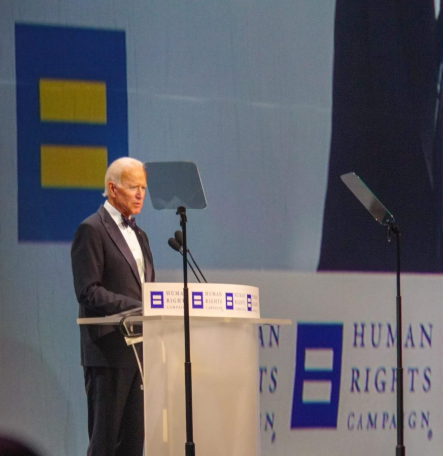 Joe Biden makes a speech during the Human Rights Campaign in Los Angeles in 2012. His speech centered around equality but was not reflected on the immigrant policies. Photo courtesy of Ted Eytan.