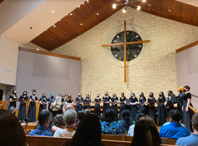 The Cantilena Choir is a female audition-based choir. They performed GOLDWING by Billie Eilish and The Storm is Passing Over by Barbara Baker.