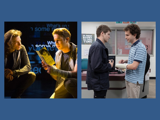 The Dear Evan Hansen stage production (left), featuring Ben Platt as Evan Hansen and Mike Faist as Connor Murphy, compared to the film adaptation (right), with Platt still starring as Evan, and Colton Ryan as Connor. Graphic by Zack Catuogno.
